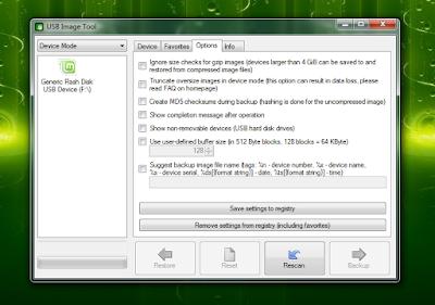 البرنامج المجاني USB Image Tool إنشاء باك آب أو نسخة احتياطية للفلاش ميمورى